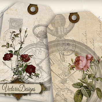 INSTANT DOWNLOAD Floral Watch Tags instant download printable gift tags digital Collage Sheet 364