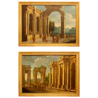 A Pair of Italian Mid 18th Century, Oil On Canvas, Landscapes