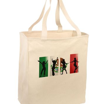 Mexican Flag - Dancing Silhouettes Large Grocery Tote Bag by TooLoud