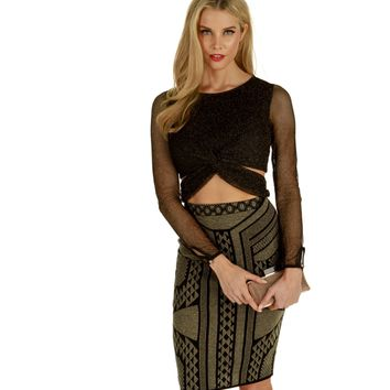 Black Trapped Mesh Crop Top