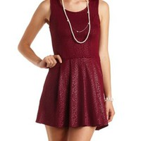 Sleeveless Embossed Skater Dress by Charlotte Russe