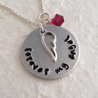 "Hand Stamped Memorial Necklace with Birthstone / ""forever my angel"" Remembrance Pendant / Angel Wing Necklace / Memory Necklace"