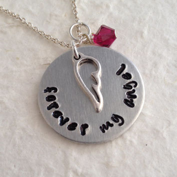 """Hand Stamped Memorial Necklace with Birthstone / """"forever my angel"""" Remembrance Pendant / Angel Wing Necklace / Memory Necklace"""