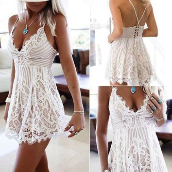 Summer Women's Fashion White Lace V-neck One Piece Dress