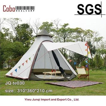 Indian Style Pyramid Tipi Tent UNI 10ft Double Door Waterproof Mesh Teepee Camping Luxury Mongolian Yurt Family Tent Lightweight
