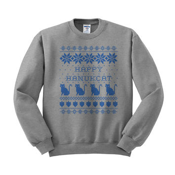 Happy Hanukcat Hanukkah Cat Crewneck Sweatshirt
