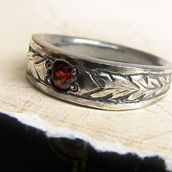 Engraved Gemstone Ring, 14k White Gold, Men's Celtic Wedding Band, Hand Engraved, Garnet, Unisex, Rustic Leaf Pattern