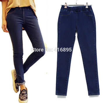 new women extra large casual elastic in the waist high elastic skinny jeans denim jean female big plus size 3xl 4xl 5xl 03150316