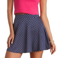 High-Waisted Polka Dot Skater Skirt by Charlotte Russe - Navy Blue