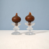 Vintage iittala Festivo One Ring Candle Holders with Candles (Set of 2)