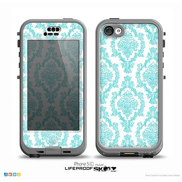 The White & Teal Damask Pattern Skin for the iPhone 5c nüüd LifeProof Case