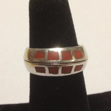 Navajo Red Coral Sterling Ring Stackable Sz 6.5 Silver 925 Vintage Southwestern Tribal Jewelry Holiday Birthday Gift Cocktail