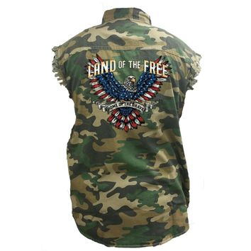 Men's Camo Sleeveless Denim Shirt Land Of The Free, Home Of The Brave Camouflage