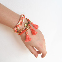 Coral bracelet stack, set of bracelets, coral arm candy