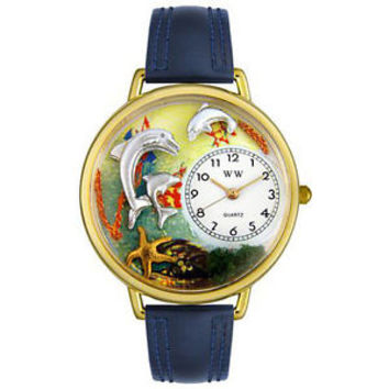 Whimsical Unisex Dolphin Navy Blue Leather Watch