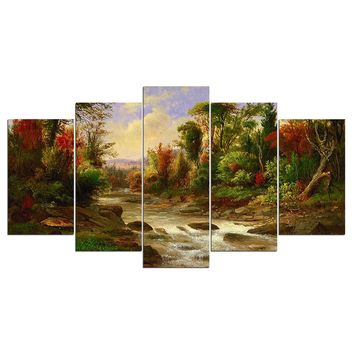 5 panel landscape wall art on canvas Forest Trees River Creek picture painting