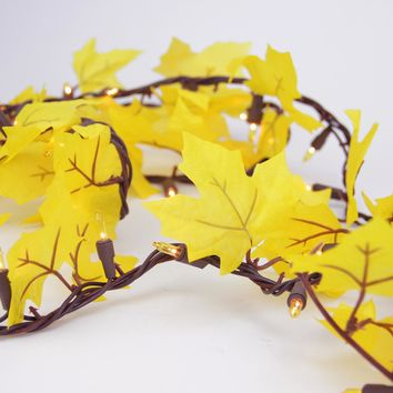 Set of 50 Yellow Leaf Autumn Thanksgiving Gold Light Garland - Brown Wire