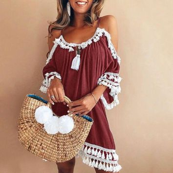 Tassel blouses shirts off the shoulder Elegant strapless Summer New sweet for women tops casual work streetwear top WS7786k