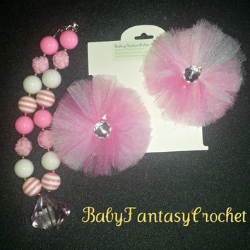 Chunky Necklace- Tulle Hair Bow Set- Pink- White- Baby Size- Ready to Ship