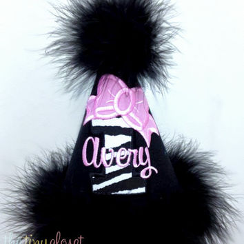 Personalized Bow Number Party Hat- Zebra & Pink