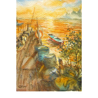 Old pier 5x7 Watercolor Painting id1840871, not a print original, watercolour