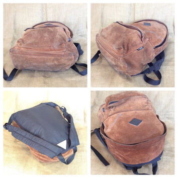 Vintage OUTDOOR brown distressed suede and leather backpack rucksack book bag