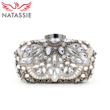 NATASSIE Women Luxury Alloy Beaded Bags Ladies Evening High Quality Diamonds Designer Handbags Wedding Party Clutches Purses