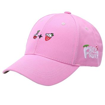 2017 Lovely Embroidery Fruit Cartoon Baseball Caps Hat For Men Women Polo Hip Hop Snap