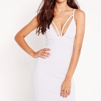 Missguided - Strappy Scuba Bust Cup Bodycon Dress White