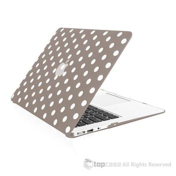 """Polka Dot Design Gray Ultra Slim Light Weight Hard Case Cover for Macbook Air 13"""" Model: A1369 and A1466"""