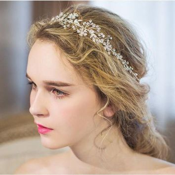Dower Me Shine Silver Rhinestone Bridal Hair Vine Jewelry Handmade Wedding Headband Accessories Women Headpiece