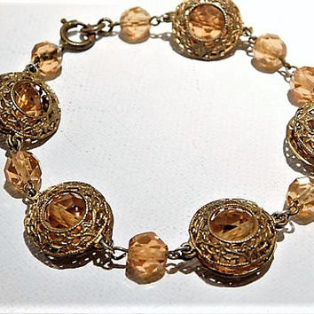 Vintage Czech Art Deco 1930s Bracelet Faceted Amber Glass Bead Beaded Brass Filigree Bracelet Flapper Era Fashion Jewelry Downton Abbey