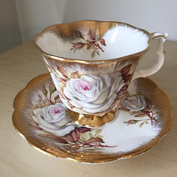 Royal Albert White Rose Vintage Teacup and Saucer, Heavy Gold Floral Tea Cup and Saucer, English China, Tea Party