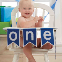 "MUDPIE ""ONE"" BLUE HIGH CHAIR BANNER"