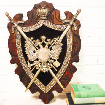 Large coat of arms wall art plaque midieval family crest griffin wood and metal swords castle decor larping crown engraveable vintage