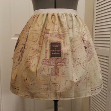 Harry Potter Marauder's Map inspired full skirt - made to order