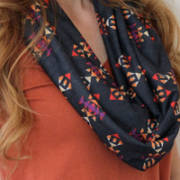 Aztec Cowl Scarf, Tribal Scarf, Infinity Scarf, Eternity Scarf, Navy, Gold, Orange, Purple