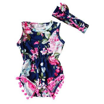 Fashion Baby Boy Girl Romper Toddler Kids Floral Sleeveless One Pieces Sunsuit Outfit Clothes Bebe Ropa For 70-100cm