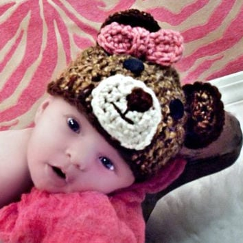 Crochet Teddy Bear Hat for babies and children: Available in multiple sizes and with or without bow. Made to order