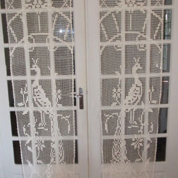 French Door Crochet Lace Curtains, Peacock Crochet Curtains
