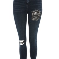 MOTO Black Thigh Ripped Jeans