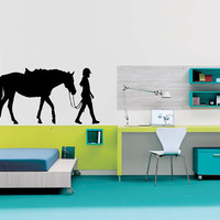 Decor Vinyl Sticker Boys Room Decal Art Tattoo Girl With Horse Riding 670