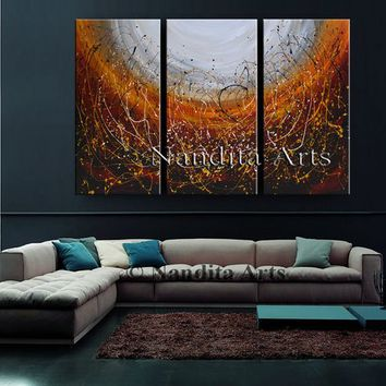 "Painting Large Artwork, 72"" Abstract Wall Art, Original Red Acrylic Fine Art, Handmade Original Sky View contemporary Art on Canvas, Nandita"