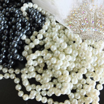Pearls string of pearls ivory pearl necklace black pearls 120 inches flapper pearls