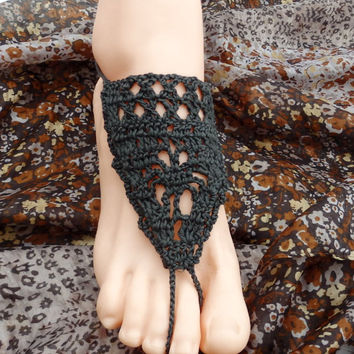Dark grey barefoot sandals crocheted gray barefoot sandles crocheted cotton lace shoes foot jewelry nude shoes boho jewelry victorian lace
