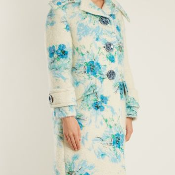 Poppy-print mohair and wool-blend coat | Prada | MATCHESFASHION.COM US