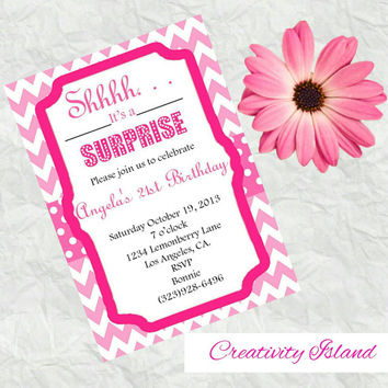 Pretty in pink surprise party invitations! 4x6!