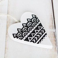 Unique st valentine gift - wooden hanging heart Handpainted boho decor, Small Saint valentine heart gifts, Wedding ornament decoration
