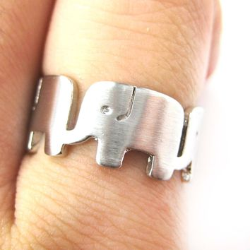 Simple Elephant Family Parade Animal Ring in Silver - US Size 6 to 8 Available