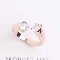 Diamond Dots Rhinestone Cuff Ring (Slightly Adjustable Band)